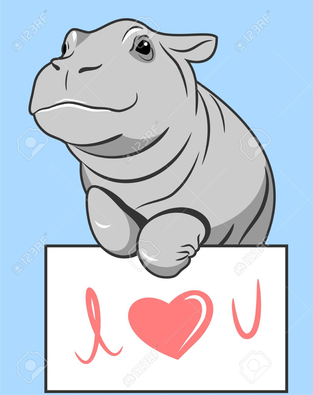 cute hippo with valentine day postcard - 122683803