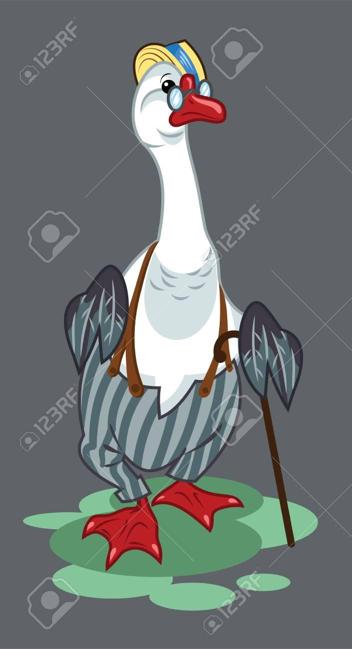Portrait of a goose in trousers with suspenders and a cane - 122683805