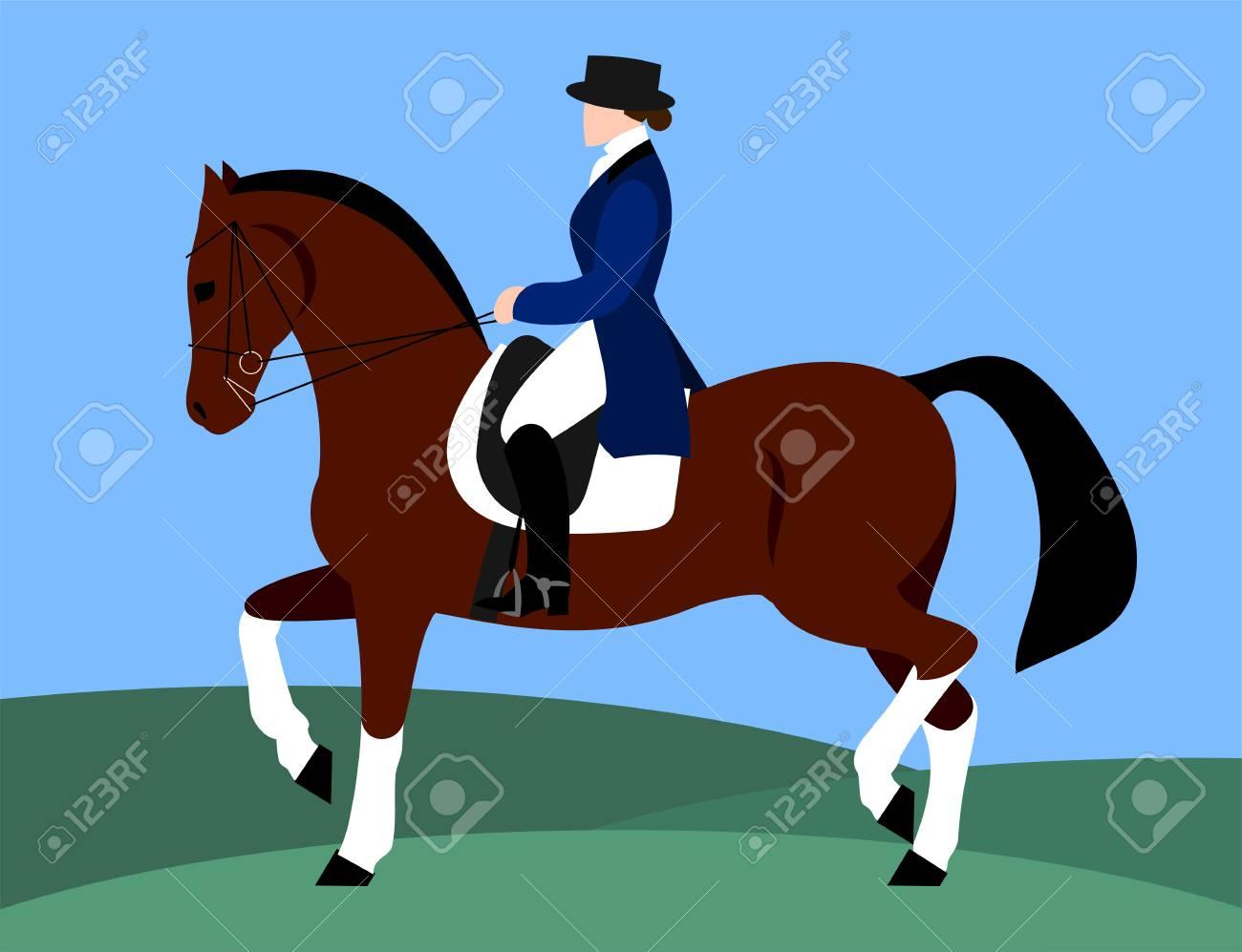 Horsewoman on horseback (rider), flat design - 122683806