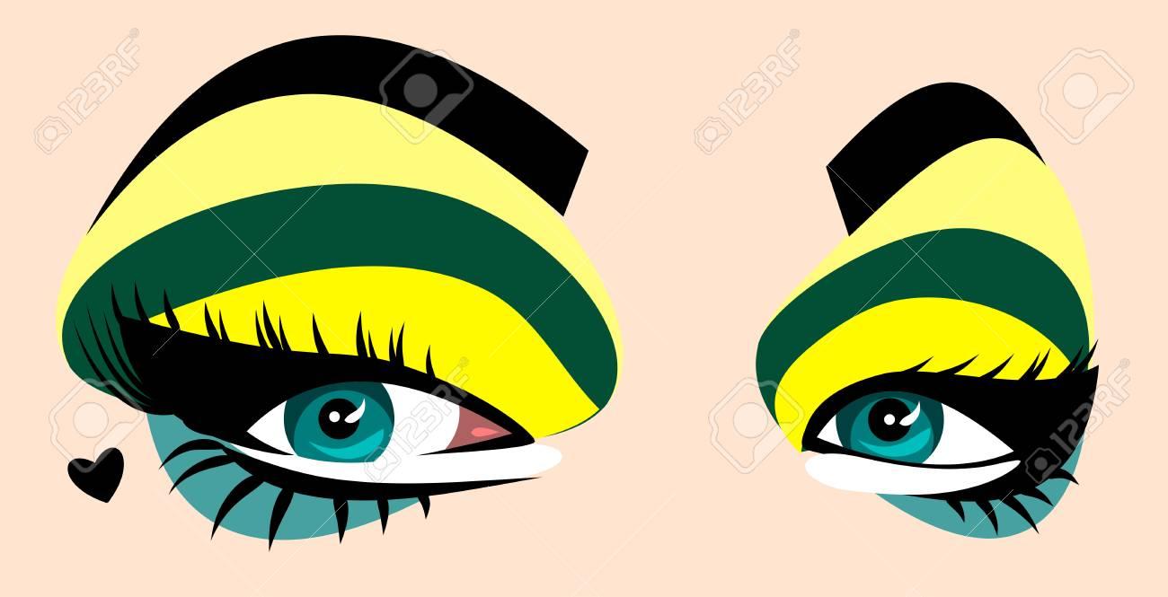 beautiful, expressive green eyes women - 126885185