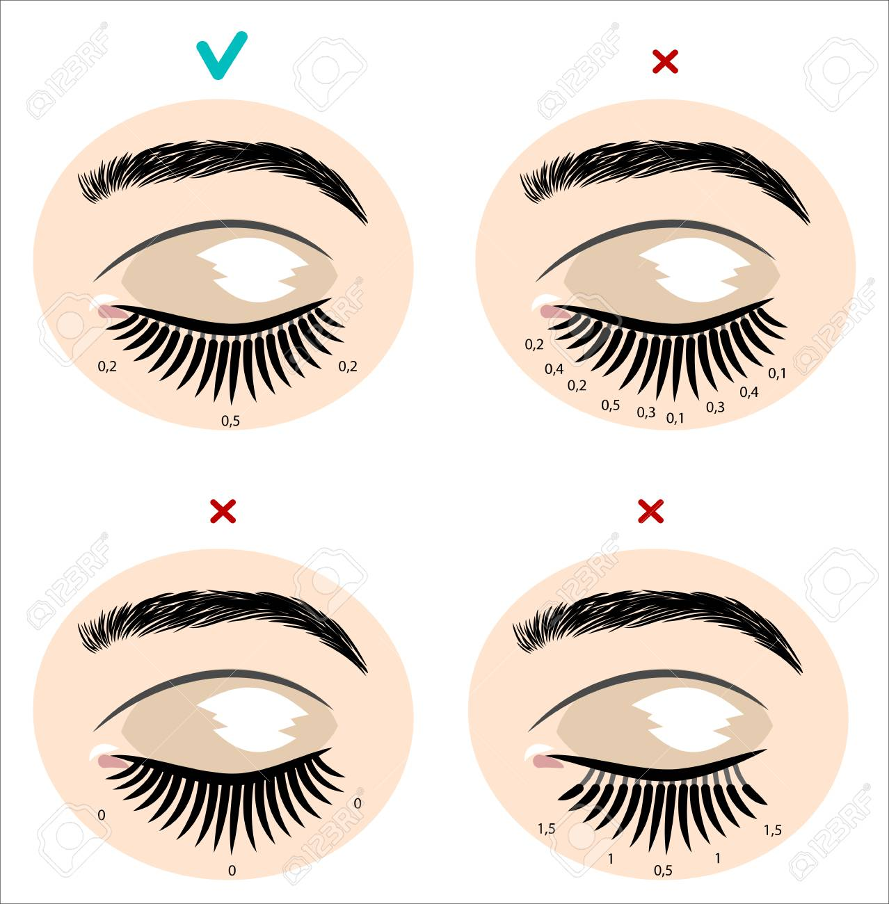 Eyes with extended artificial eyelashes - 126885384