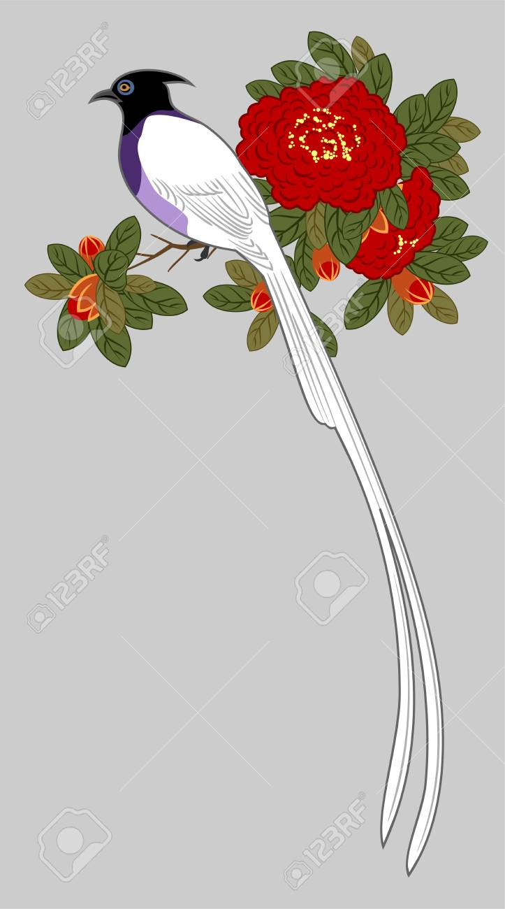 Bird on a branch of blooming red roses - 126885187