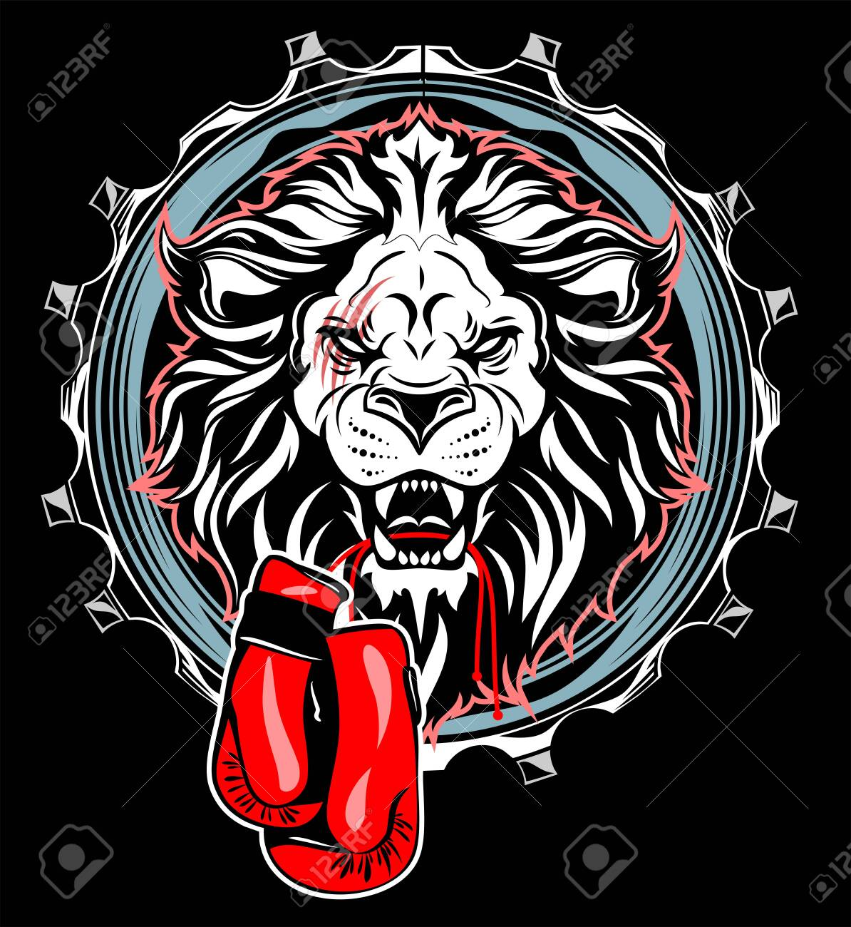 Portrait of a lion with boxing gloves in Steel, metal hoop, circle, frame - 130864041