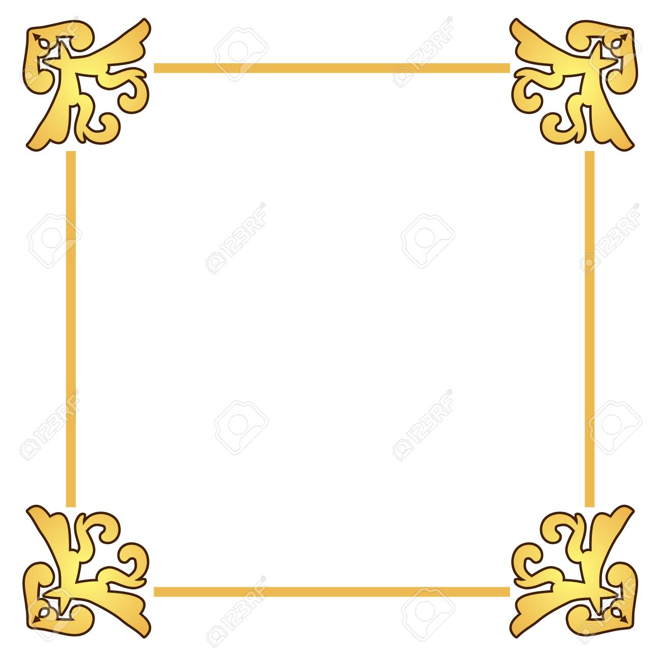 Beautiful frame in golden colors. - 130864047