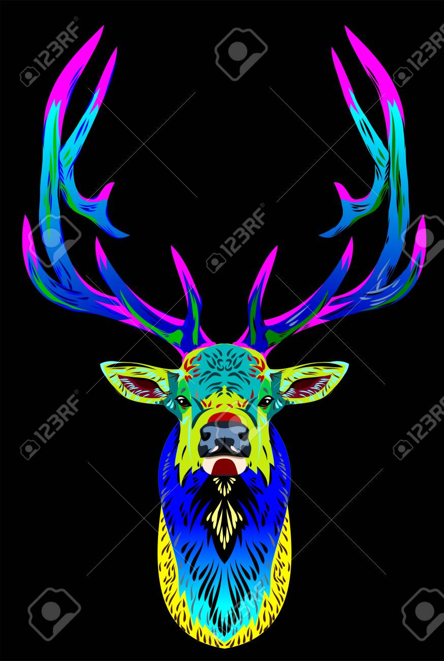 Unusual, bright, multi-colored portrait of a deer - 130800615
