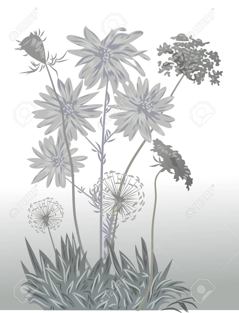 delicate wildflowers in soft colors - 130864057