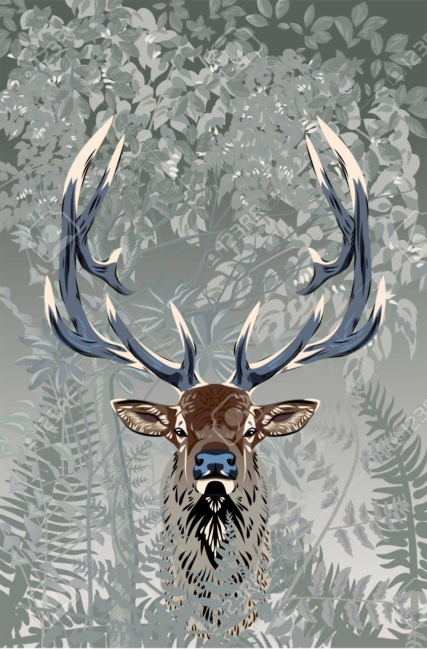 Deer in the forest, vector image - 130864062