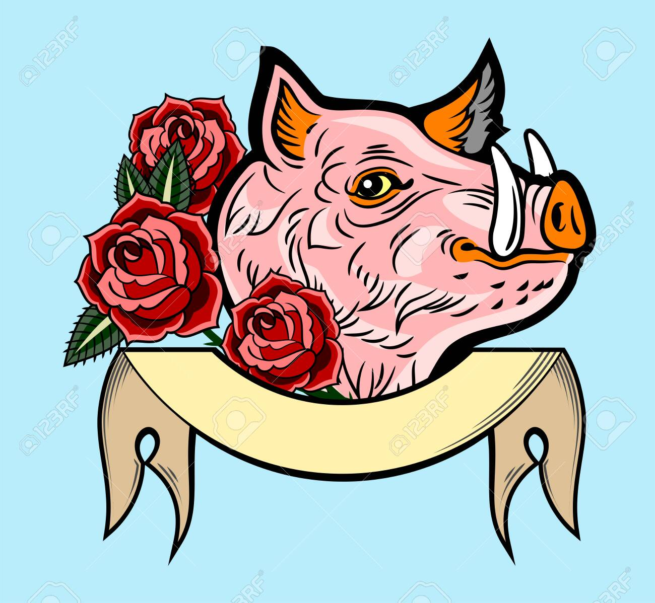 Cute, good-natured pink hog style old school tattoo, with red roses and a banner - 130854585