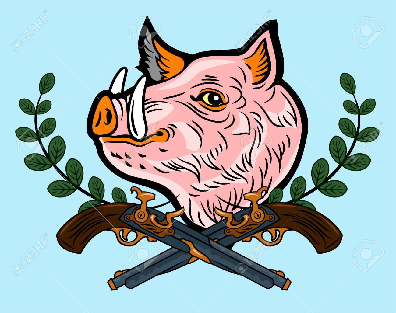 Cute, good-natured pink wild boar old-school style tattoo - 130854591