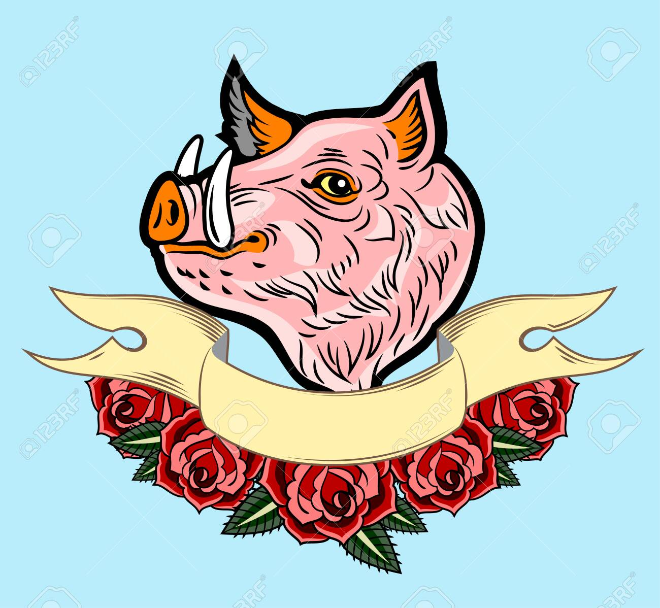 Cute, good-natured pink hog style old school tattoo, with red roses and a banner - 130854592
