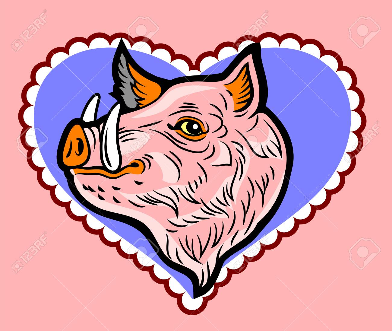 Cute, good-natured pink wild boar in a frame in the shape of a heart - 130854593