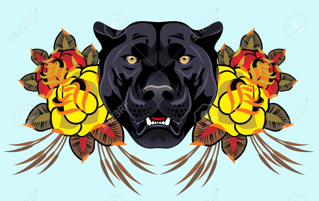 Image of a black panther in flowers in an old school style - 135697483