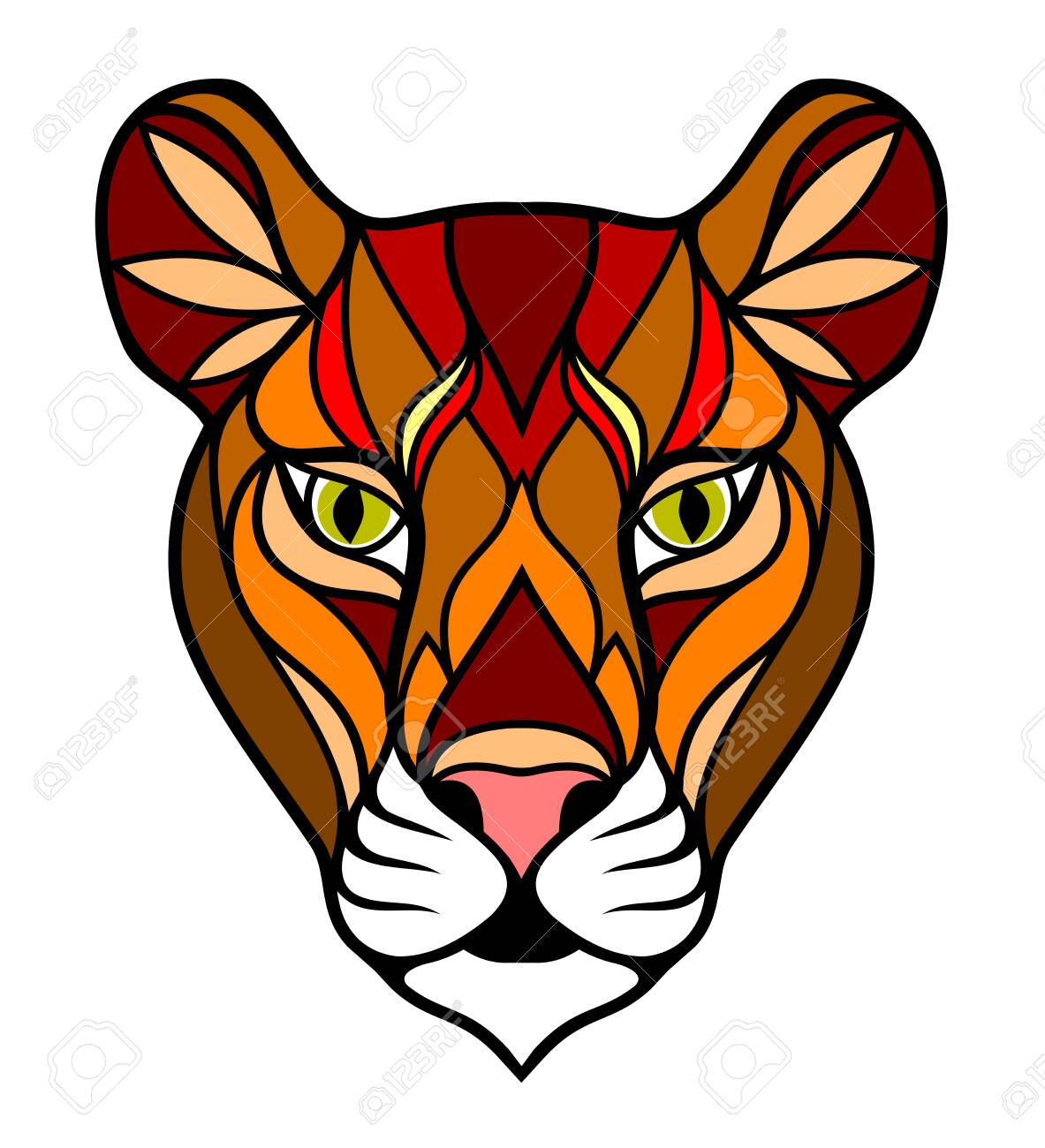 Image of a lioness in an old school style - 135697482