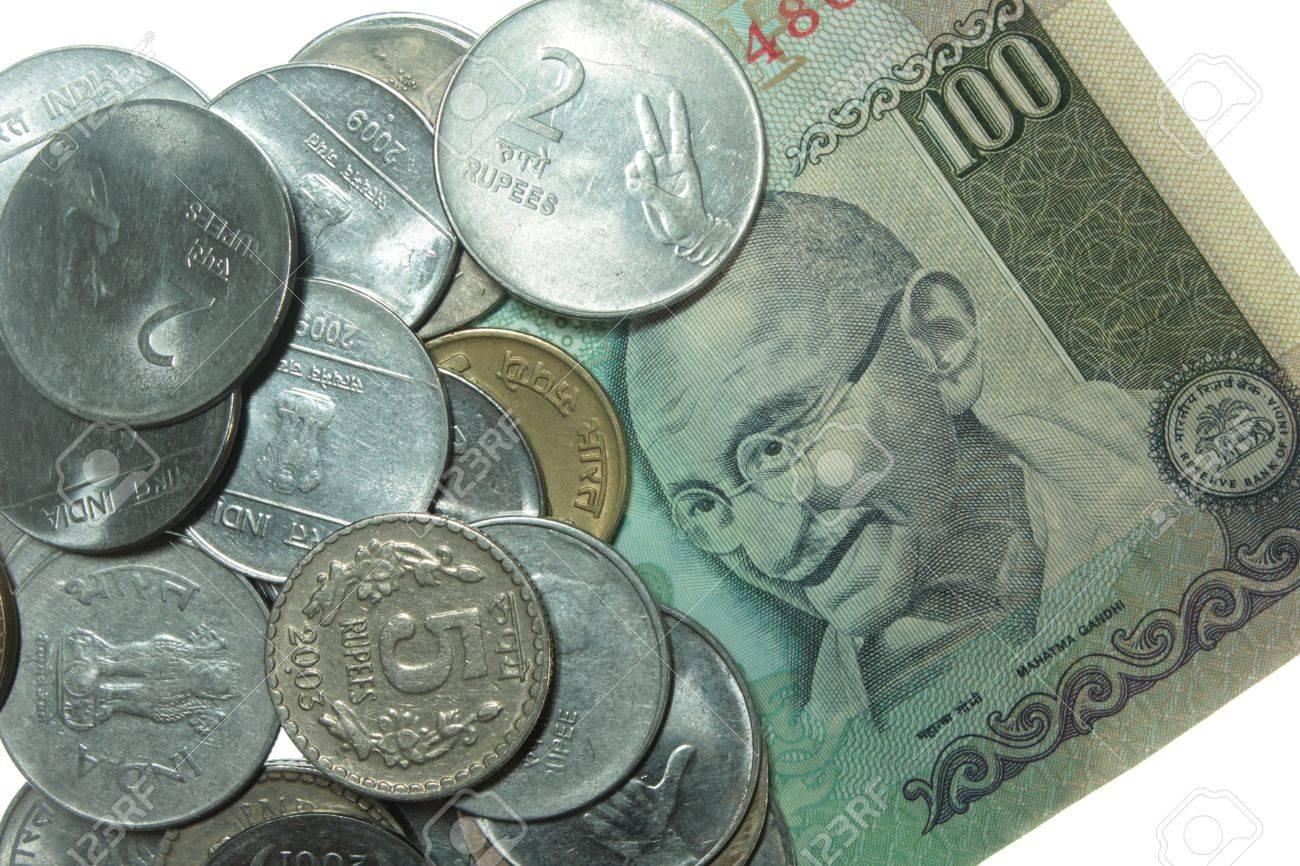 Indische Münzen Und Hundert Rupien Note Lizenzfreie Fotos Bilder