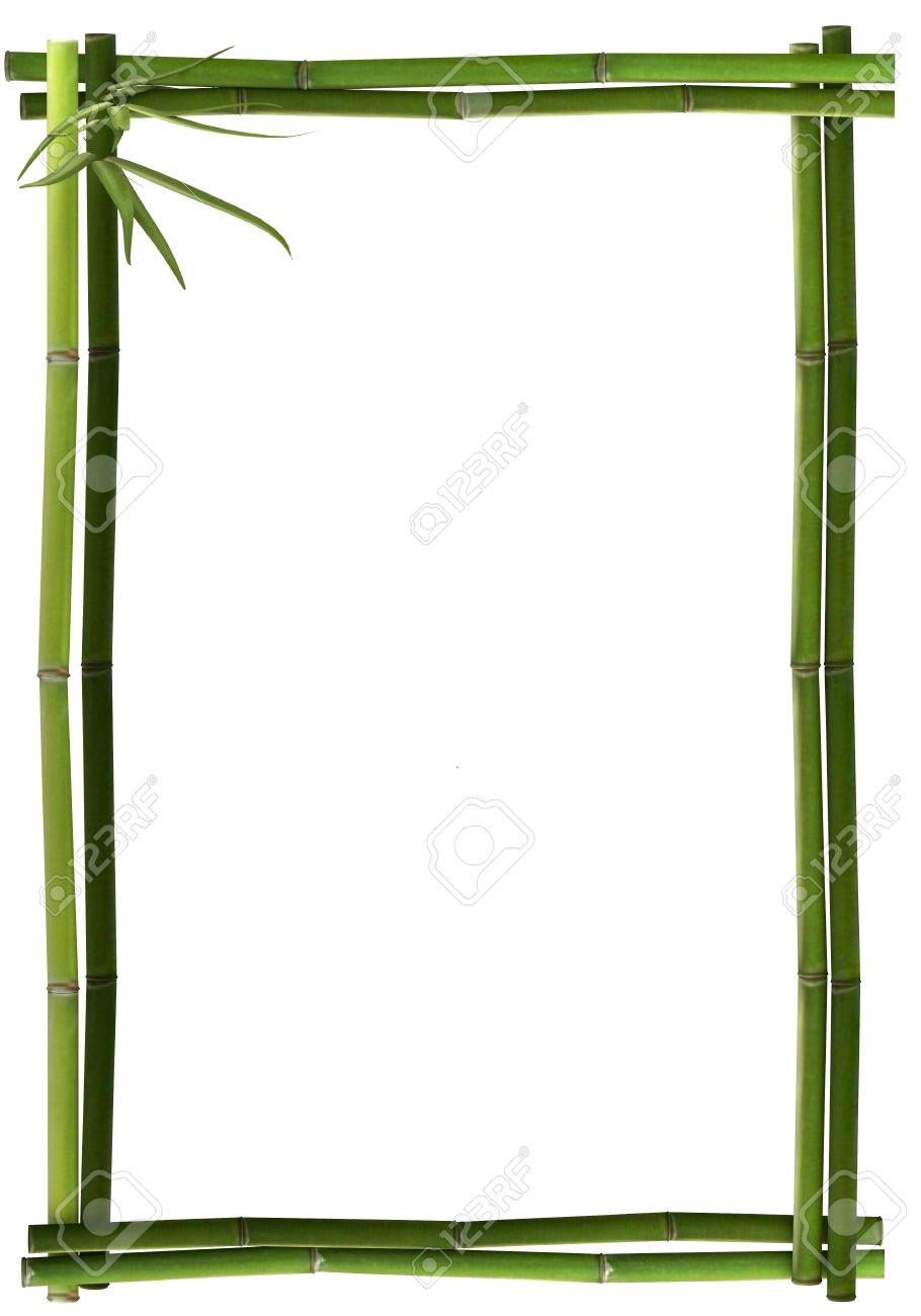 Bamboo frame green portrait Standard-Bild - 25284546