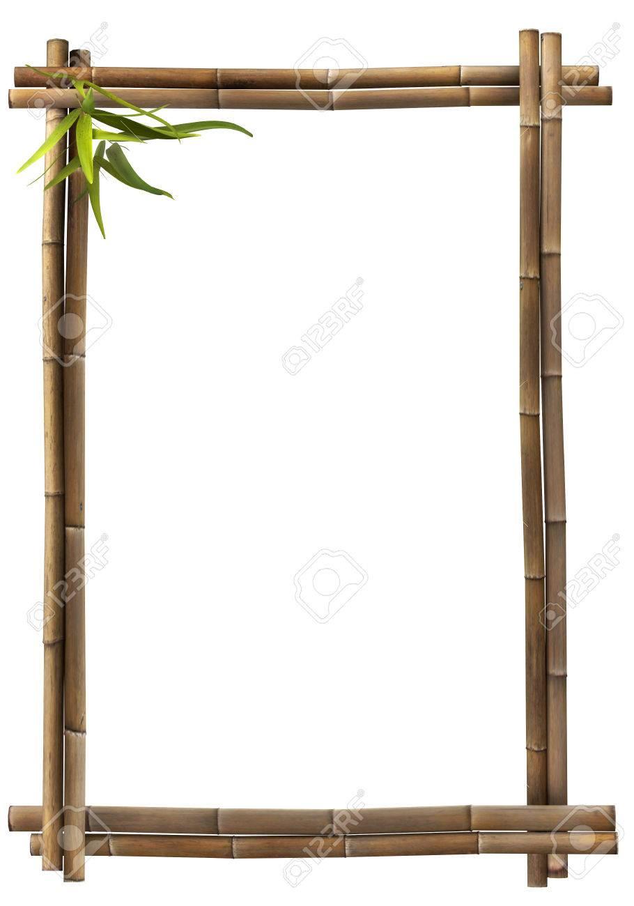 Bamboo frame brown portrait Standard-Bild - 25284550
