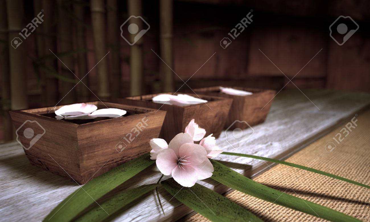 Water Bowls With Bamboo And Cherry Blossoms Standard-Bild - 28499206