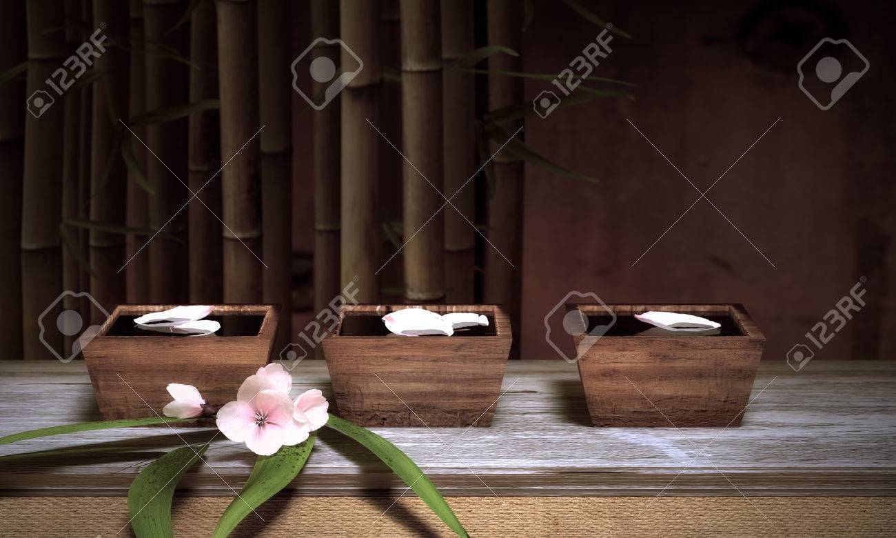 Water Bowls With Bamboo And Cherry Blossoms Standard-Bild - 28499414