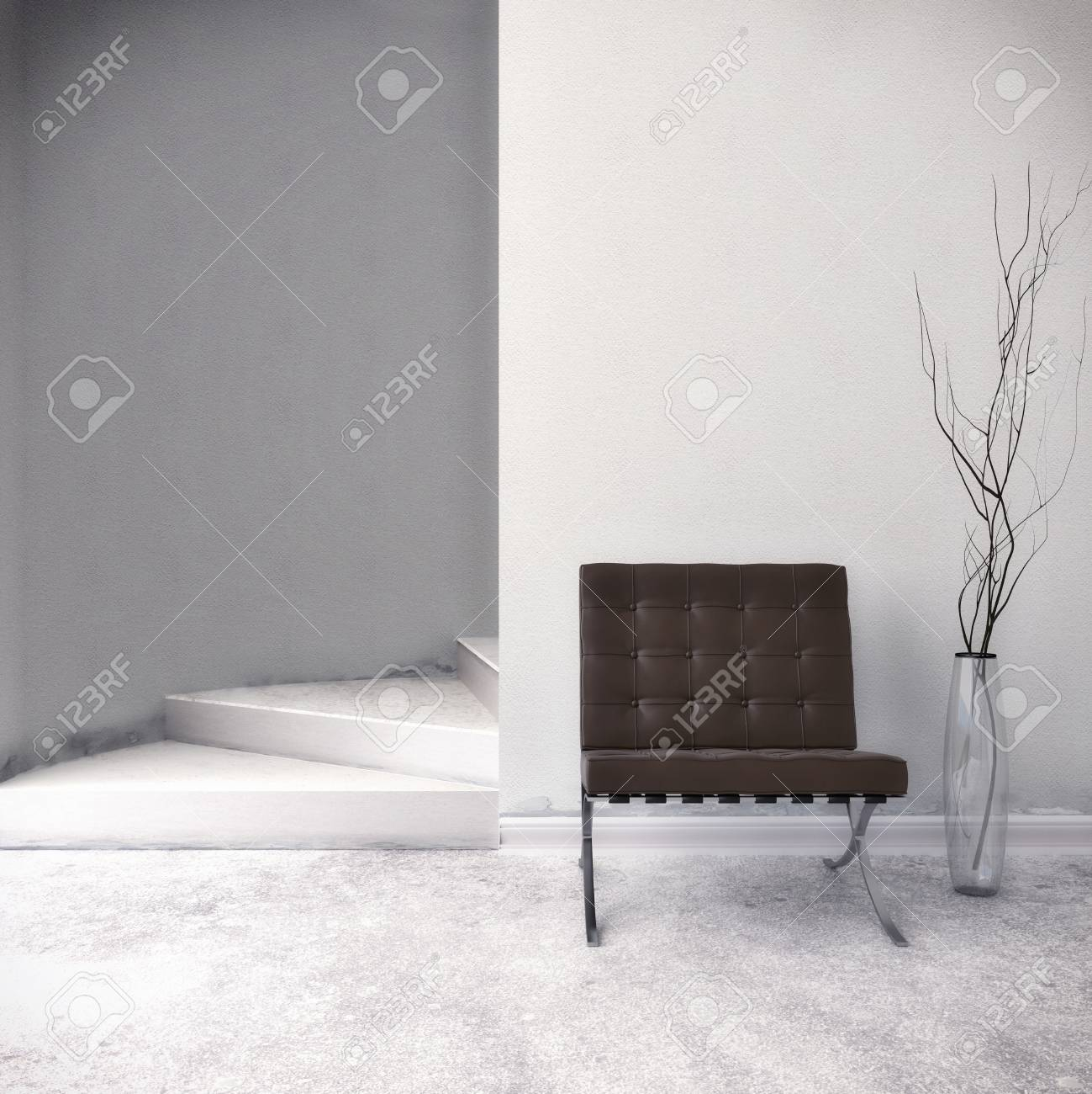 Brown Chair in front of a white wall Standard-Bild - 29945628