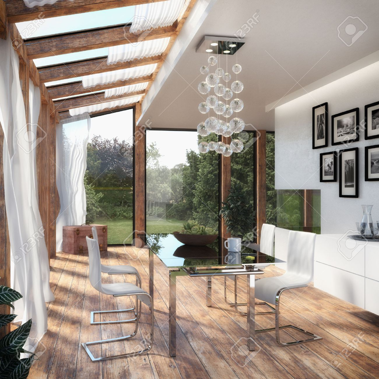 modern dining room winter garden stock photo picture and