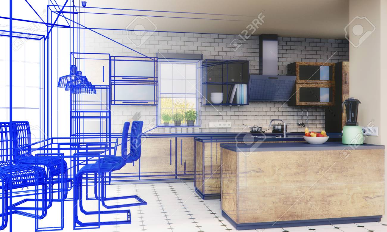 Planning of a kitchen with 3D - 113193478