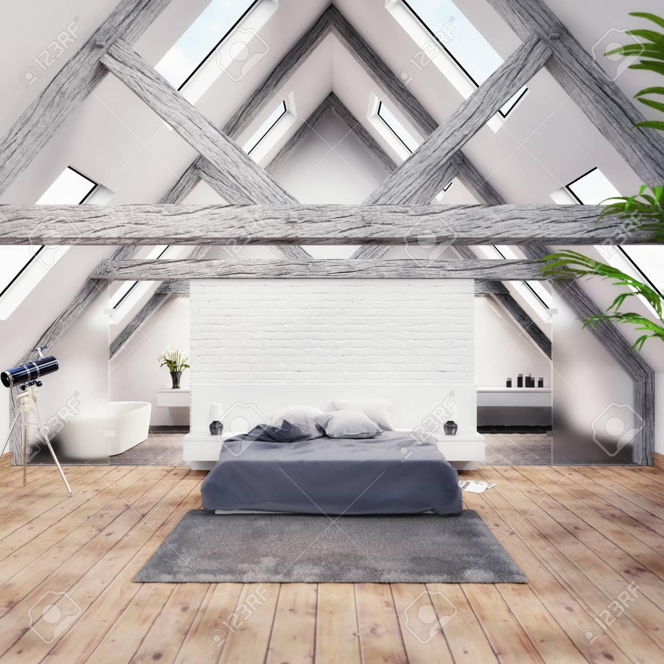 3D render of a modern bedroom with bathroom - 113193479