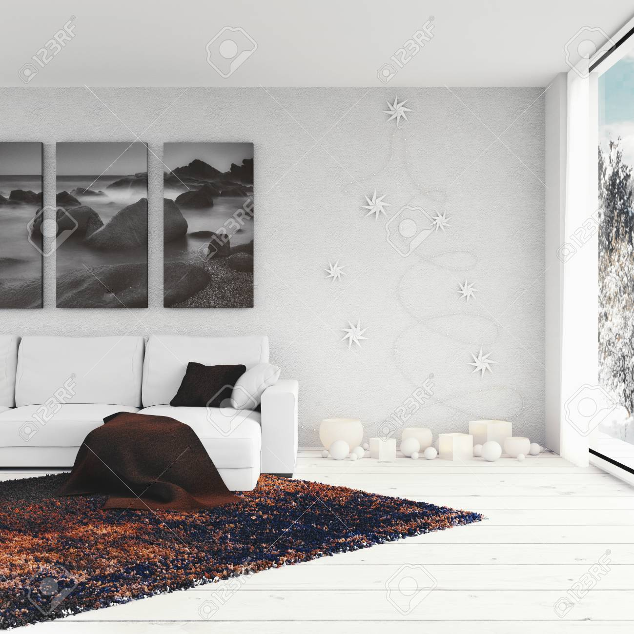 3D render - Living Room With Christmas Decoration - 113193481