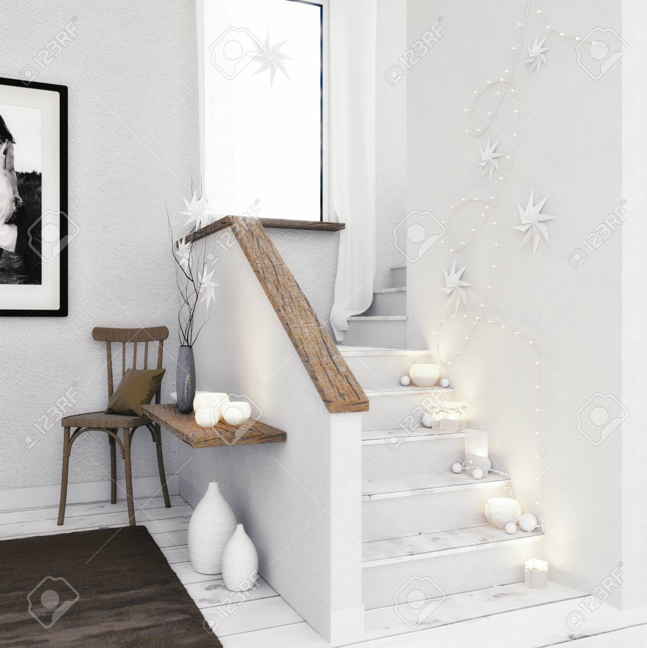 3D render - Stairway with Christmas decoration - 113193477