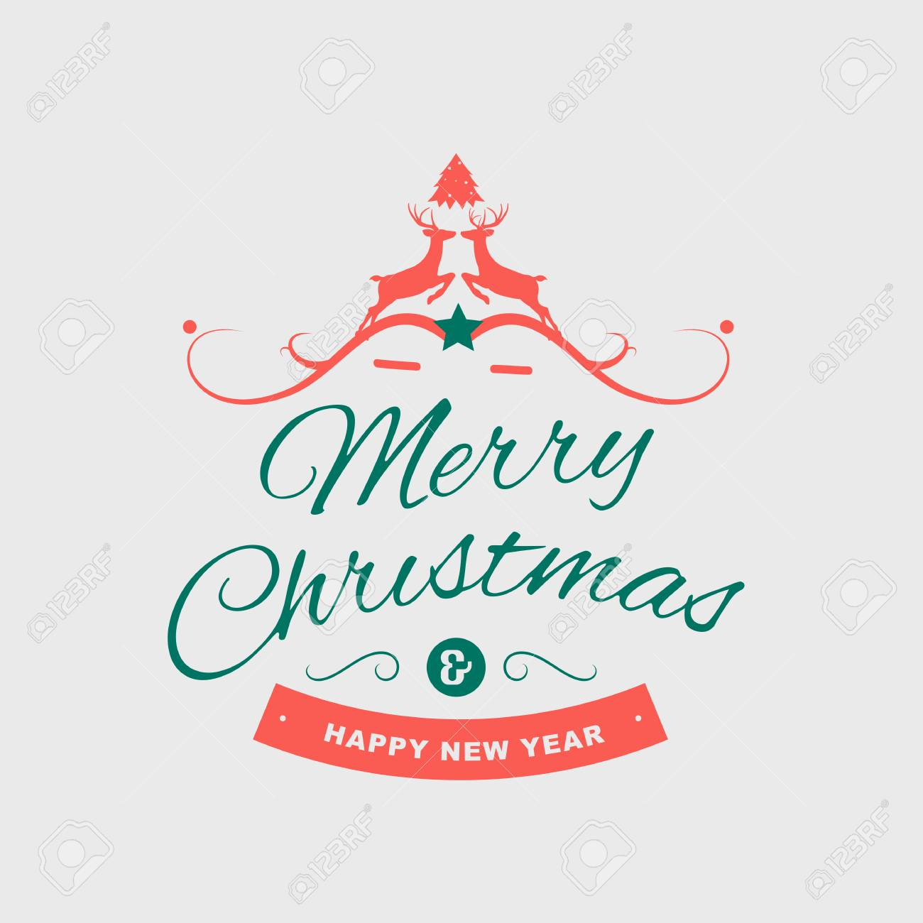 Merry Christmas And Happy New Year Greeting Card Typography Flyer ...