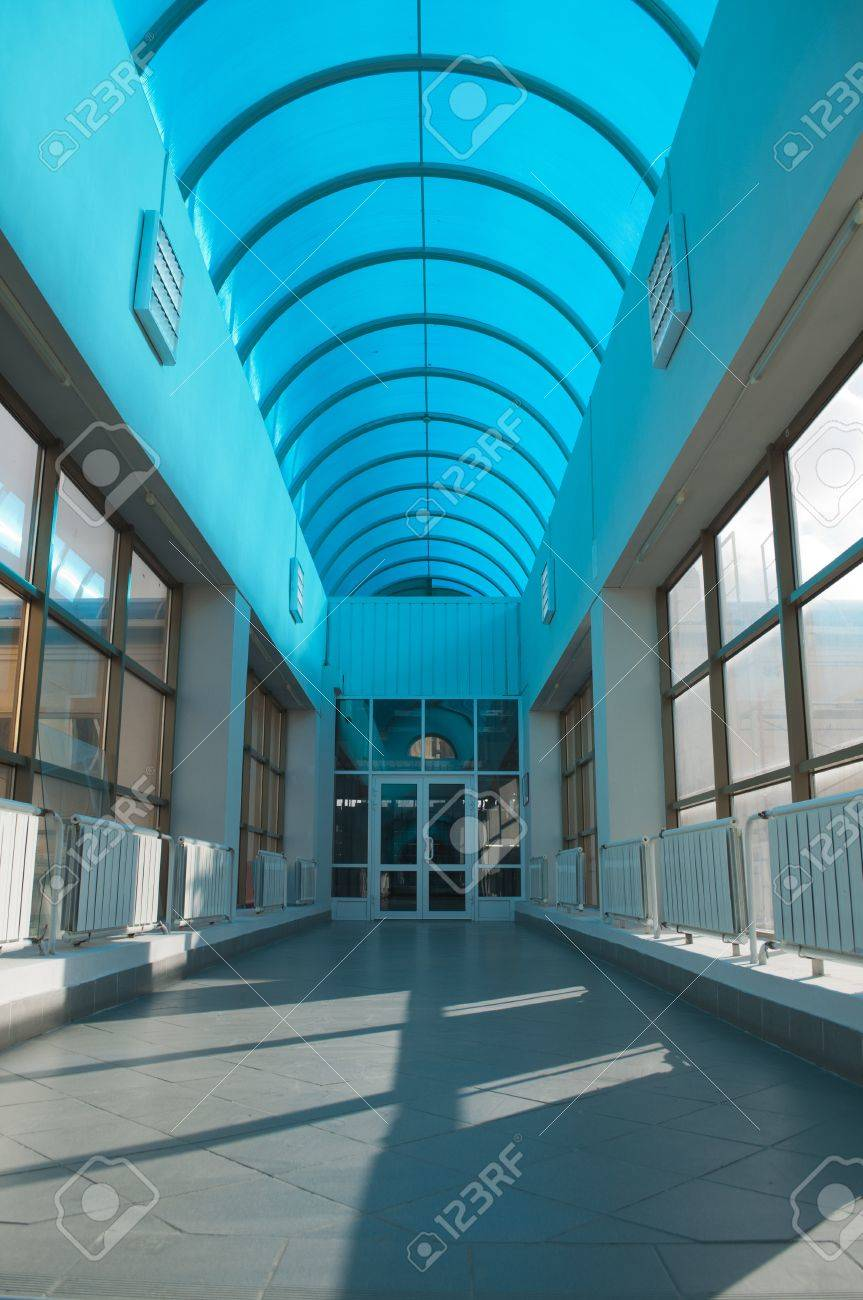 Long Hall With A Cyan Roof Of Polycarbonate Stock Photo   11571326