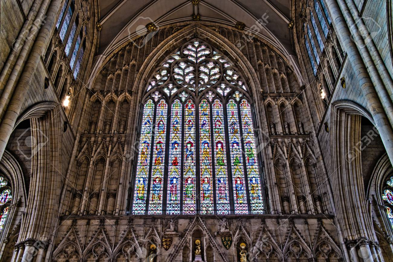 Large Stained Glass Window.York United Kingdom 02 08 2018 The Large Stained Glass Window