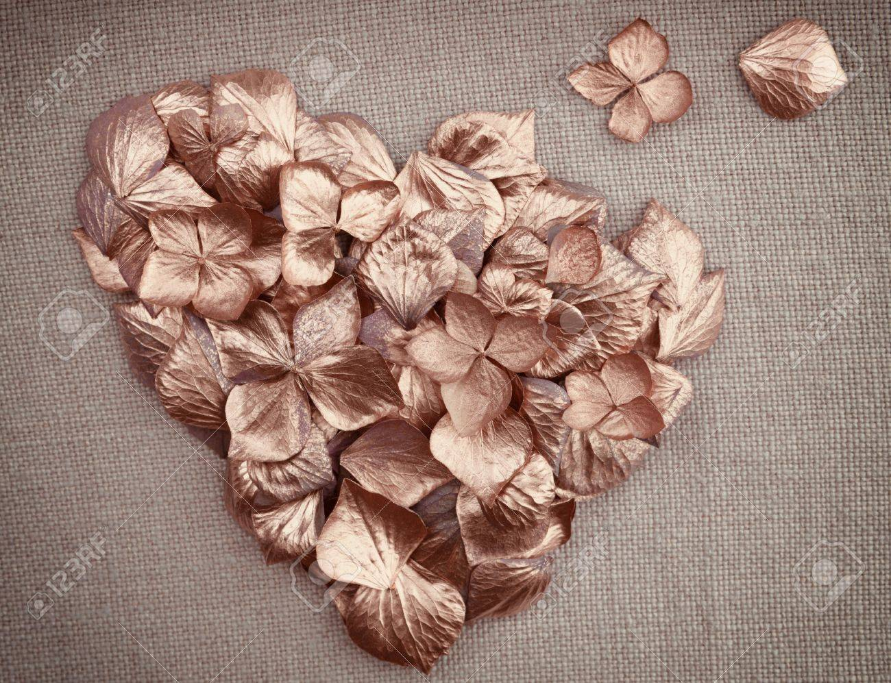 17679895-Golden-vintage-hydrangea-flower-petals-in-the-shape-of-a-heart-on-fabric-background-Stock-Photo