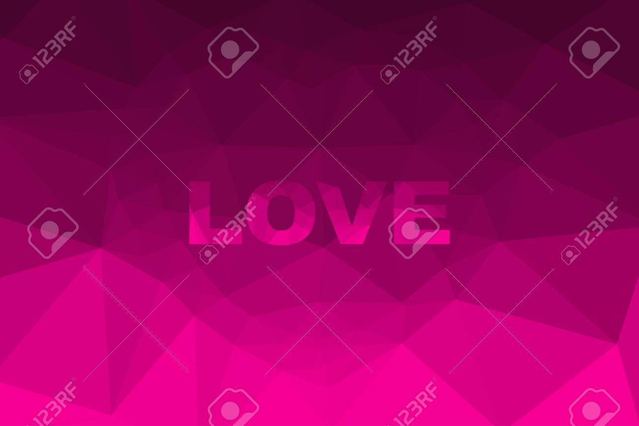 イラスト愛ピンク色と心ポリゴン背景デザイン。 ロイヤリティフリー