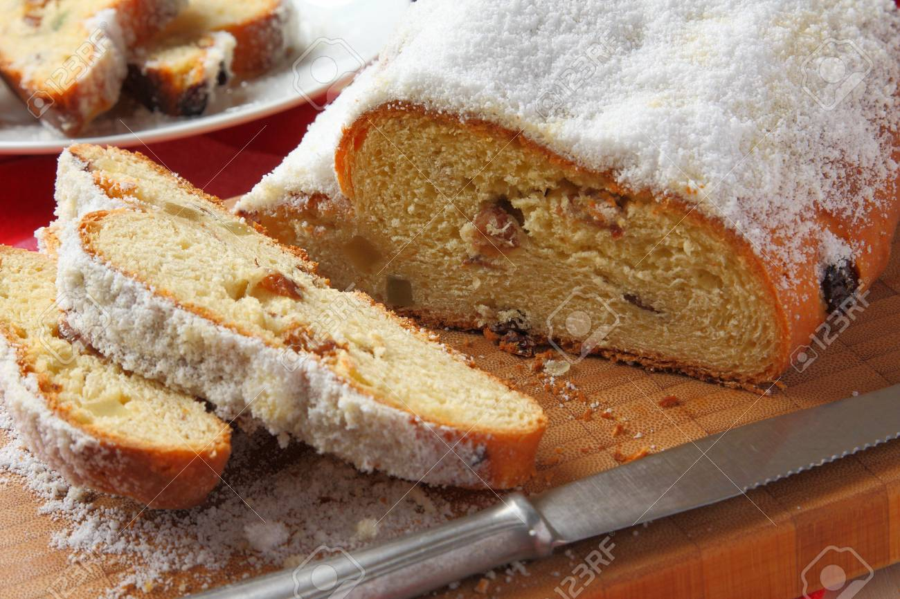 Traditional German homemade stollen with dried fruits Stock Photo - 17006863