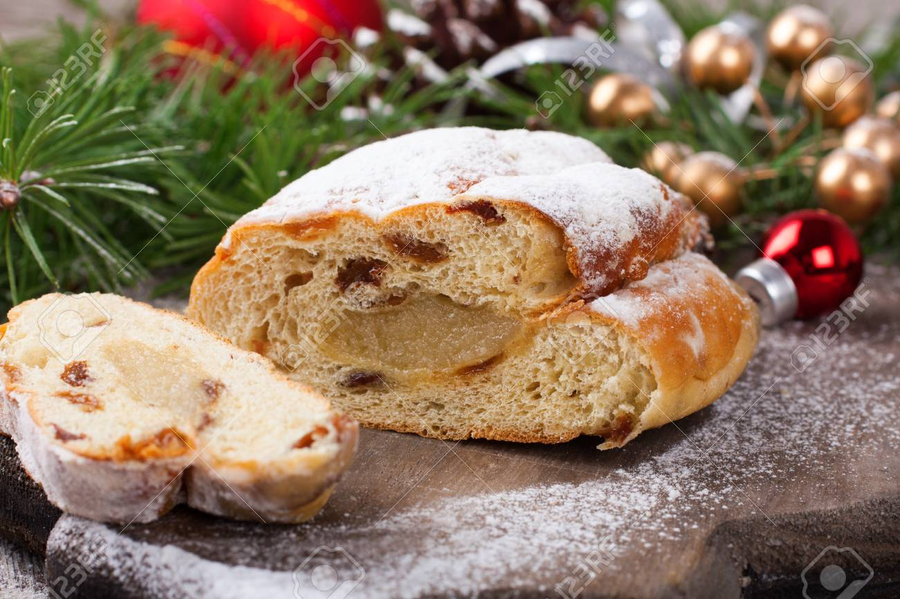 Dutch Christmas Food.Sliced Christmas Little Stollen With Decoration A Traditional