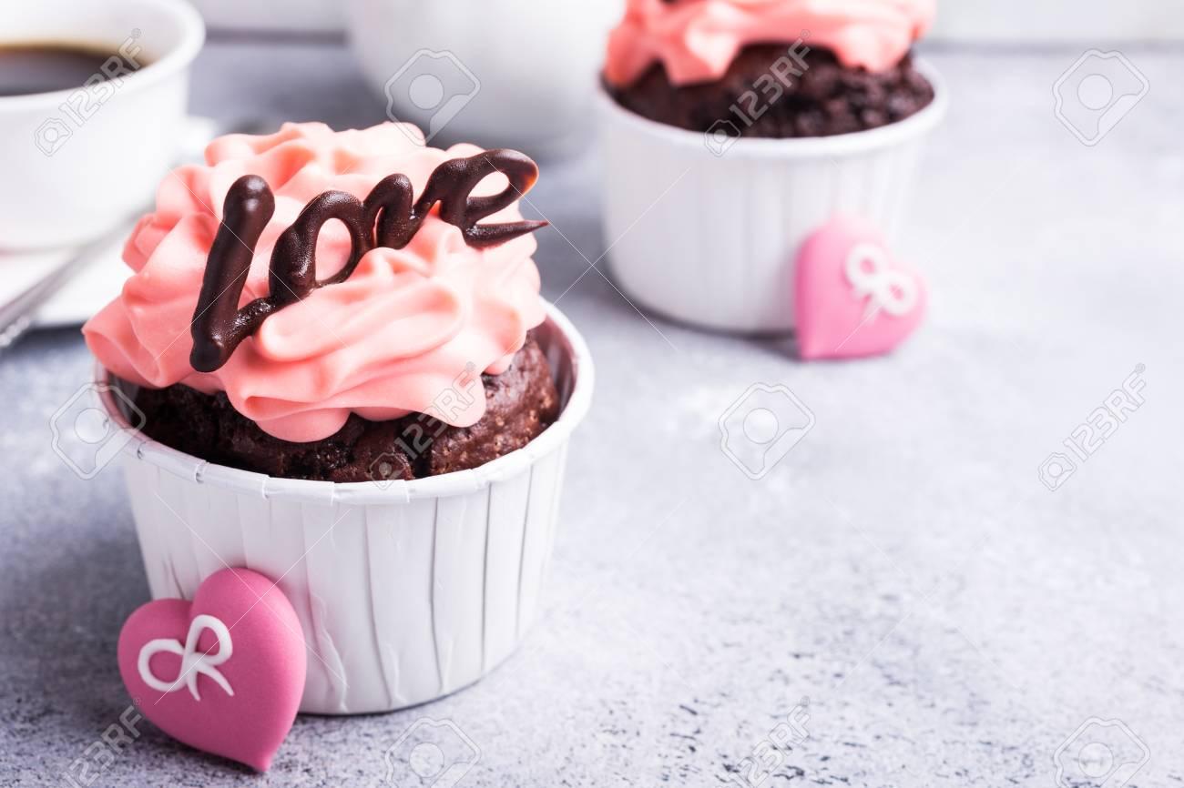 Beautiful Chocolate Cupcake Pink Cream And Heart On Gray Stone