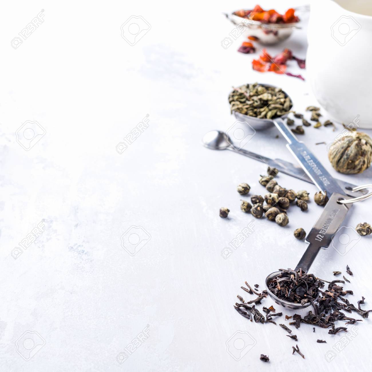 Background With Different Types Of Tea Leaves Black Green Stock