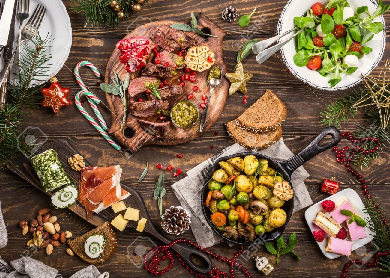Christmas Meat.Flat Lay Of Delicious Christmas Themed Dinner Table With Roasted