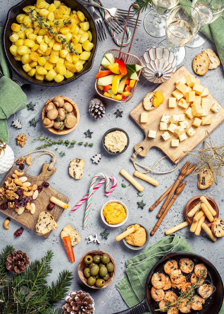 Christmas Dinner Party.Christmas Dinner Party Table Holiday Vegeterian Food Concept