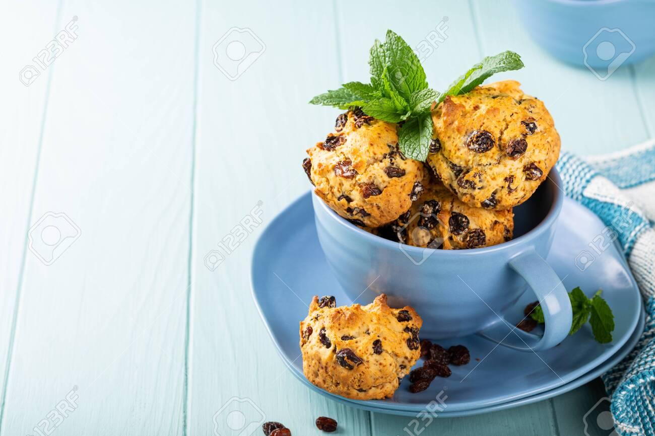 Fresh homemade delicious raisins muffins - 125800199
