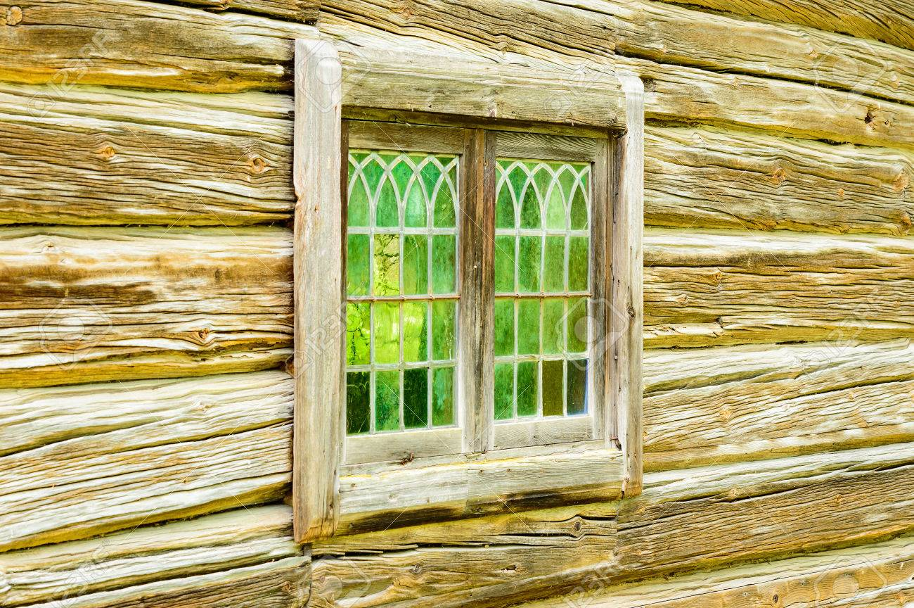 Very Old Window Glass On Old Timber House. Glass Is Green And ...