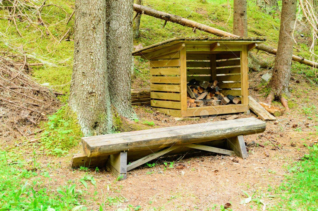 Fabulous Small Storage For Firewood Behind A Timber Bench In The Forest Dailytribune Chair Design For Home Dailytribuneorg
