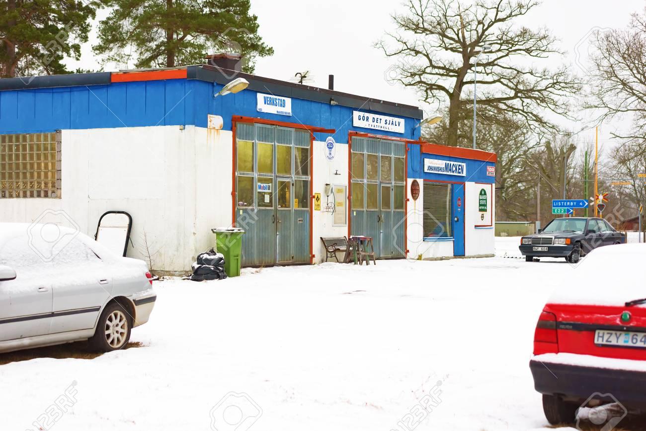 Johannishus sweden january 8 2016 the auto repair shop houses johannishus sweden january 8 2016 the auto repair shop houses a garage solutioingenieria Image collections