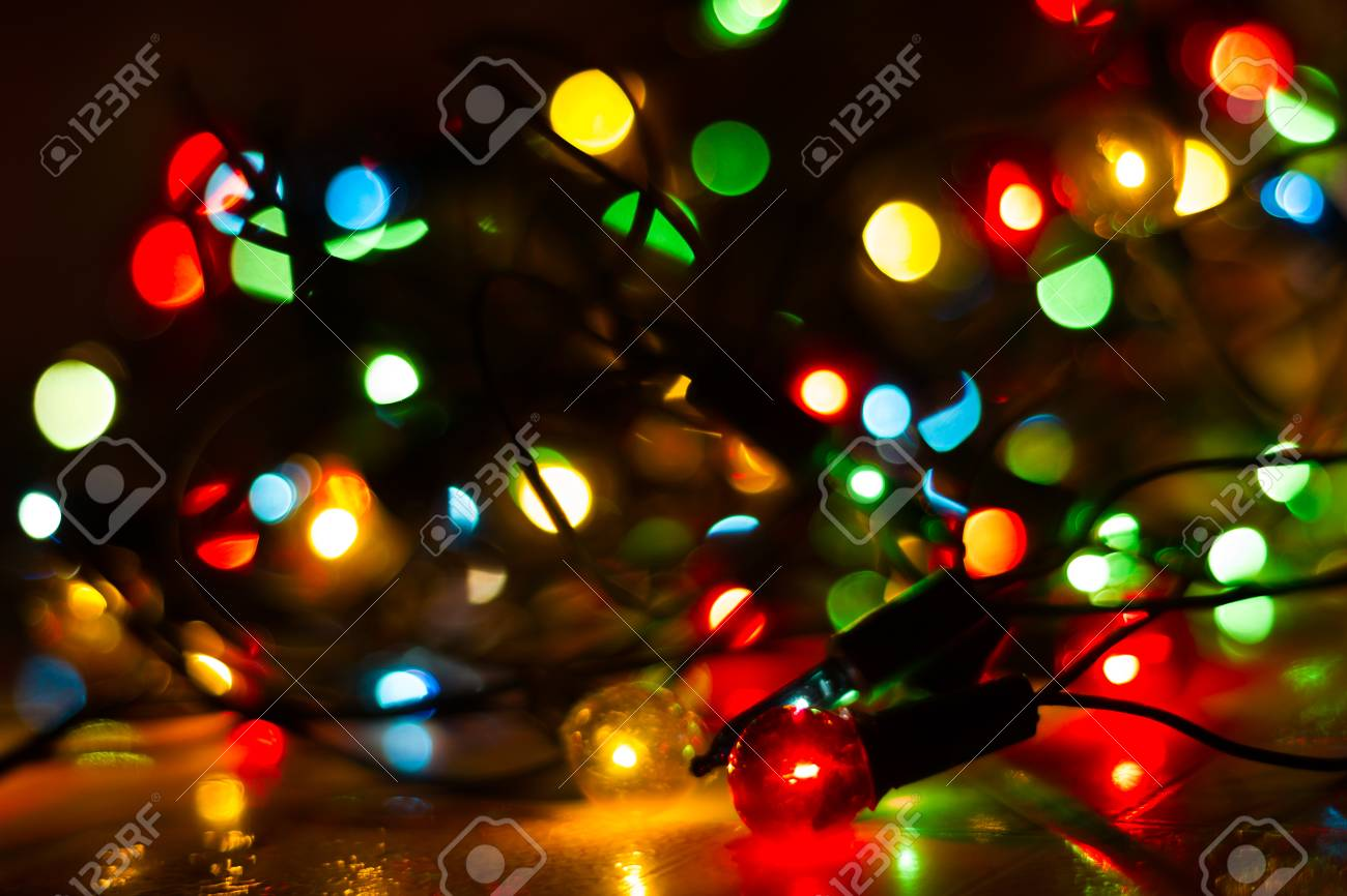 Colorful Christmas Lights Background.Christmas Lights Closeup Christmas Background With Lights