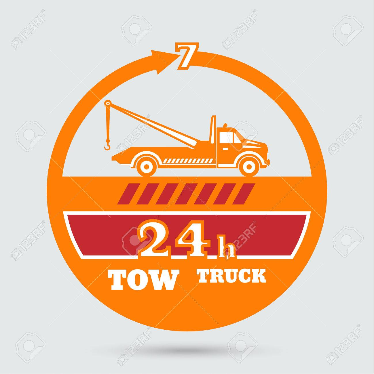 Tow Truck Emblem Wrecker Icon Round The Clock Evacuation Of Cars