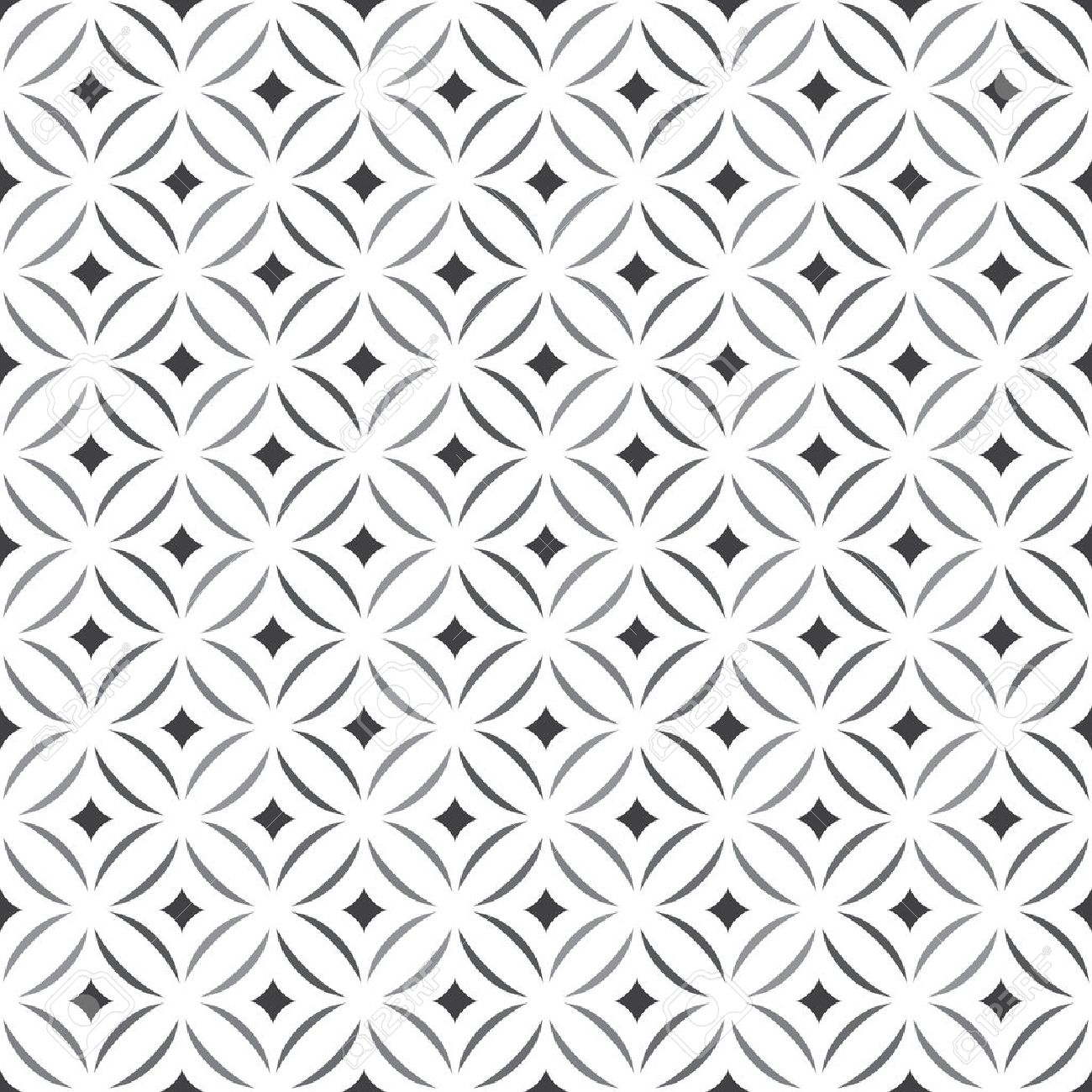 Seamless pattern. Stylish texture. Tile with regularly repeating geometrical elements, shapes, rhombuses, arches, crossed circles. Monochrome. Backdrop. Web. Vector element of graphic design Stock Vector - 41842161