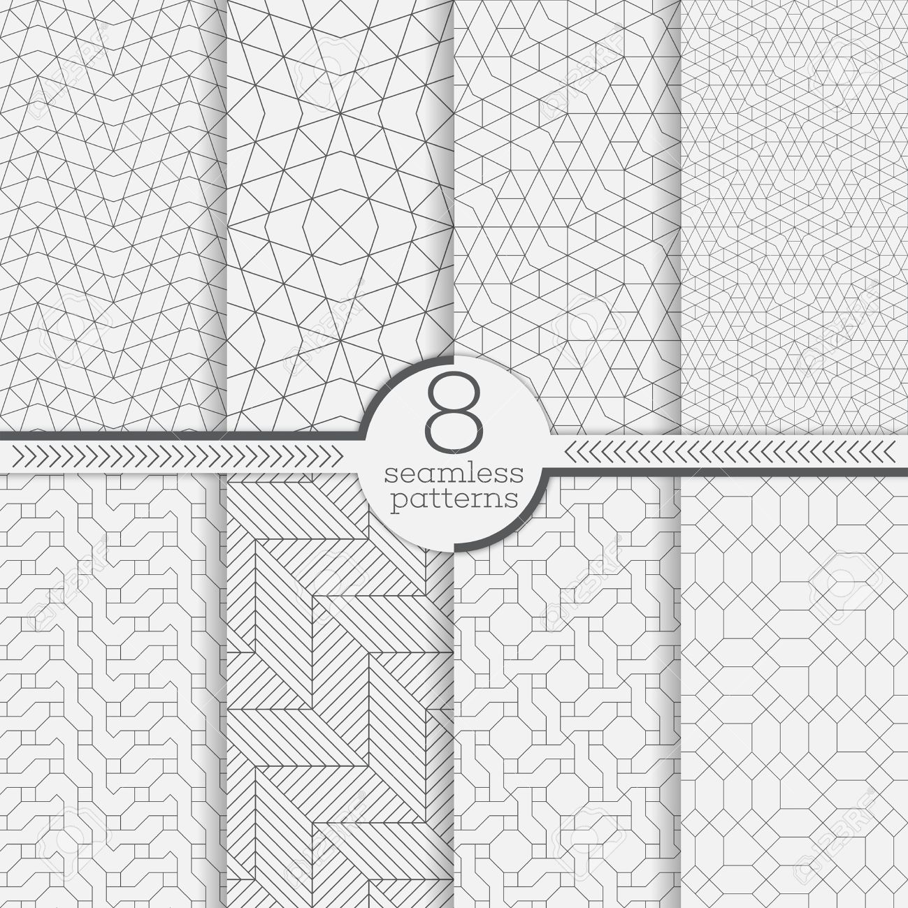 Set of seamless patterns. Modern stylish textures. Abstract geometrical background. Original linear texture with repeating thin broken lines, polygons, difficult polygonal shapes - 53613433