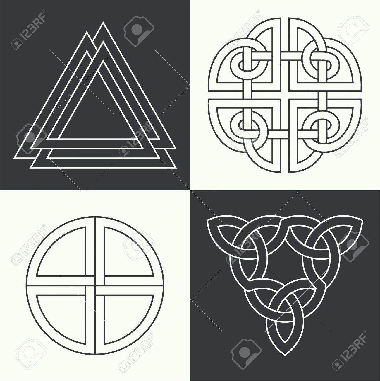 Set Der Alten Symbole In Linearen Stil Ausgeführt Keltische Zeichen