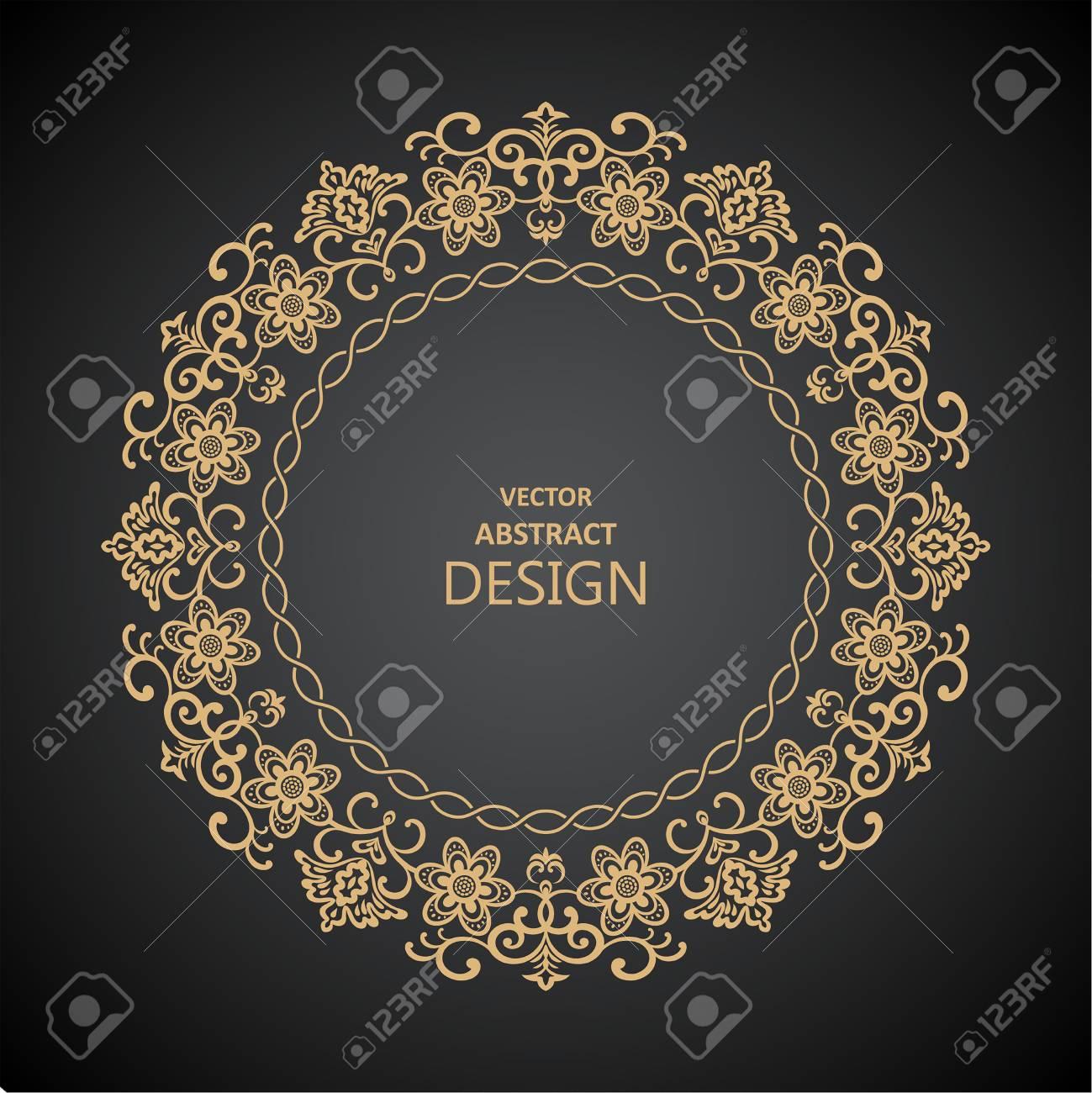 Patrón Circular Barroco. Ornamento Floral Redondo. Marco De La ...