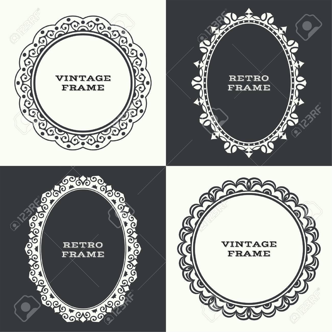 Marco Circular Vintage. Drawn Mirror Mirror Frame. Foto De Archivo ...
